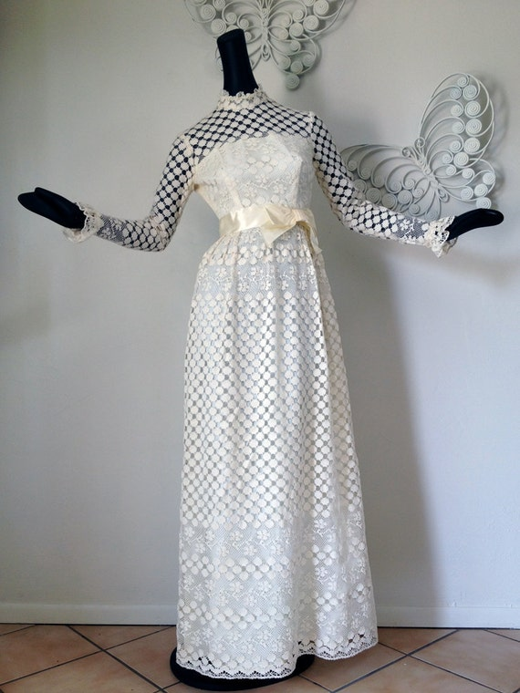 Vintage 1960s 1970s Hippie Wedding Dress Bridal Gown Festival Party Cream Formal Maxi Length Extra Small NWOT NOS Mint Gunne Sax Style