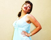 POWDER BLUE BOUDOIR Pinup girl vintage long maxi night petticoat nightgown Periwinkle baby blue with lace ruffle front