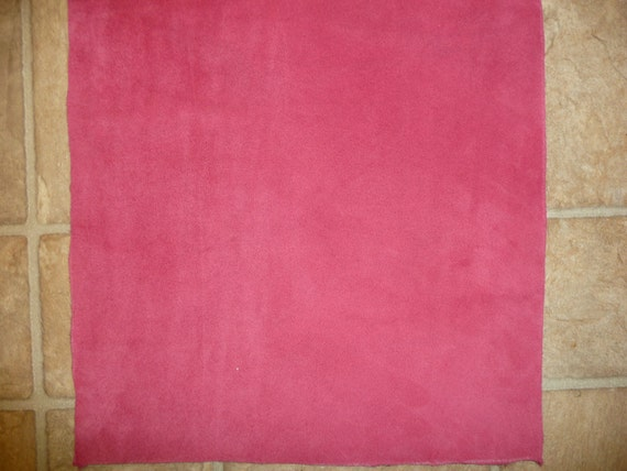 """Leather 12""""x12"""" Super soft Gorgeous hot Pink Garment Grade Suede Cowhide PeggySueAlso CLOSEOUT"""