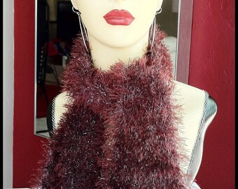 CINNAMON FROTH hand-knit Scarf - softest mink alternative - Xmas, New Year's