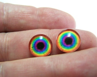 Fantasy glass eyes for art dolls and sculpture 12mm eye chips