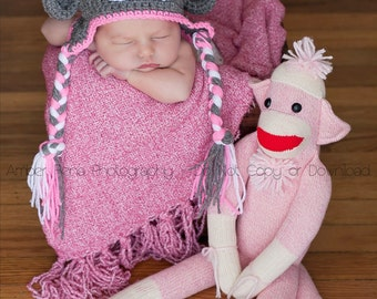 Crochet Sock Monkey Hat, newborn photo prop, child sock monkey, toddler sock monkey, newborn earflap hat, custom sock monkey hat