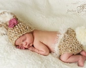 Soft Tones Baby Bunny Hat Cap & Diaper Cover w/Big Fluffy Tail also  Includes Flower Clip and Knitted Bow Tie Clip