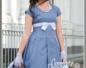 Grey Classic Victorian Lolita Retro Dress - Minimalist Grey and White Simple Dress and Pleated Skirt - Custom Color and Size