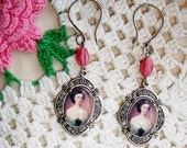 """HANDCRAFTED Cameo EARRINGS in Pierced Silver Floral Settings, Sterling Earwires, """"Belle of the Ball"""" Vintage Pink Faceted Beads - SALE! -"""