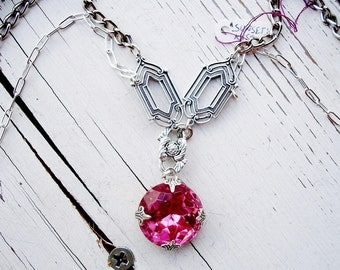 """CLEARANCE!!!   Pink GLASS Necklace, Handmade w/Large VINTAGE Pink Rhinestone Pendant, Silver Double Chain,  """"Sunset's Kiss""""  34"""" Chain"""