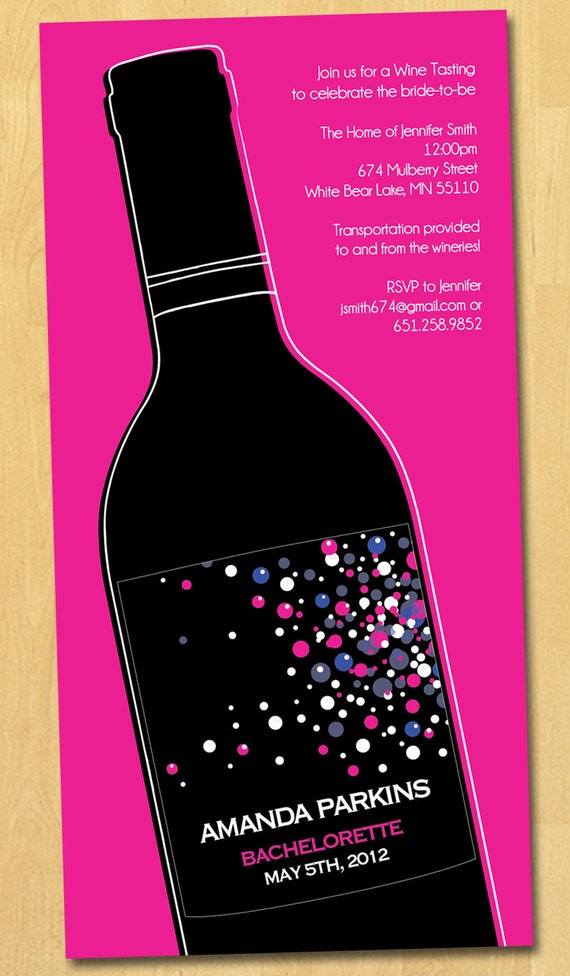 Wine Tasting Bachelorette Party Invitation Printable 21st 30th 40th Birthday Template