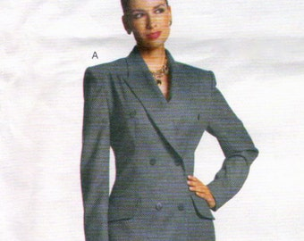 Alexander McQueen for Givenchy double-breasted pantsuit or coat dress pattern -- SMALL size range -- Vogue Paris Original 2183