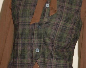 Plaid Wool Vest by Sportstrends,  Green & Brown    Winter Warm