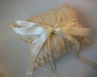 Ivory Ring Bearer Pillow, Ivory Wedding Ring Pillow, Silk Dupioni, Off-White Wedding Pillow Cream Ring Pillow, Ring Cushion Avant-Garde SALE