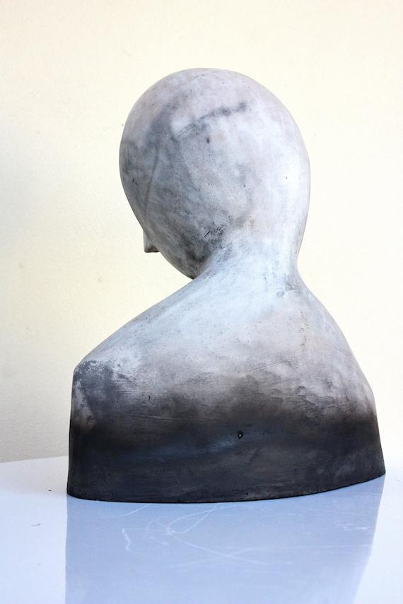 Ceramic sculpture, ceramic bust, WOMAN portrait, modern artwork by Elisaveta Sivas