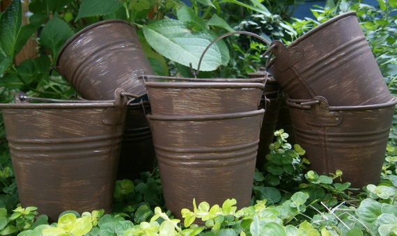 Wedding Pails, Tins, Buckets For Rustic, Shabby Chic Weddings, Set of 10
