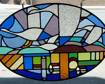 Large Oval Leaded STAINED GLASS Window Panel  Canada Geese Glass  Artwork,metal Art