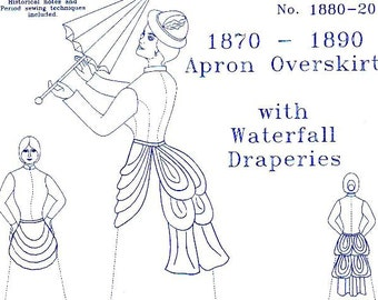 Victorian Skirt Pattern: Apron Overskirt with Waterfall Draperies Multi Size Sewing Pattern 1880-20