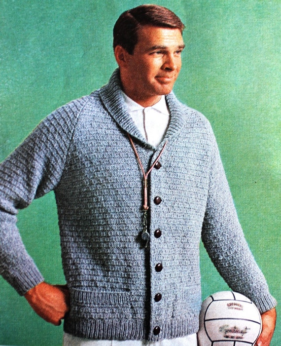 Knitting Pattern for Mens Cardigan Sweater with by nonlethalforce