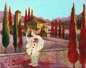 Painting the Town Red - Landscape with French Clown - Giclee Print