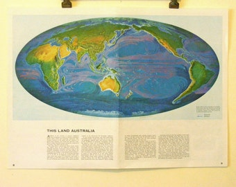 1960s Vintage World map LARGE, world atlas Australia