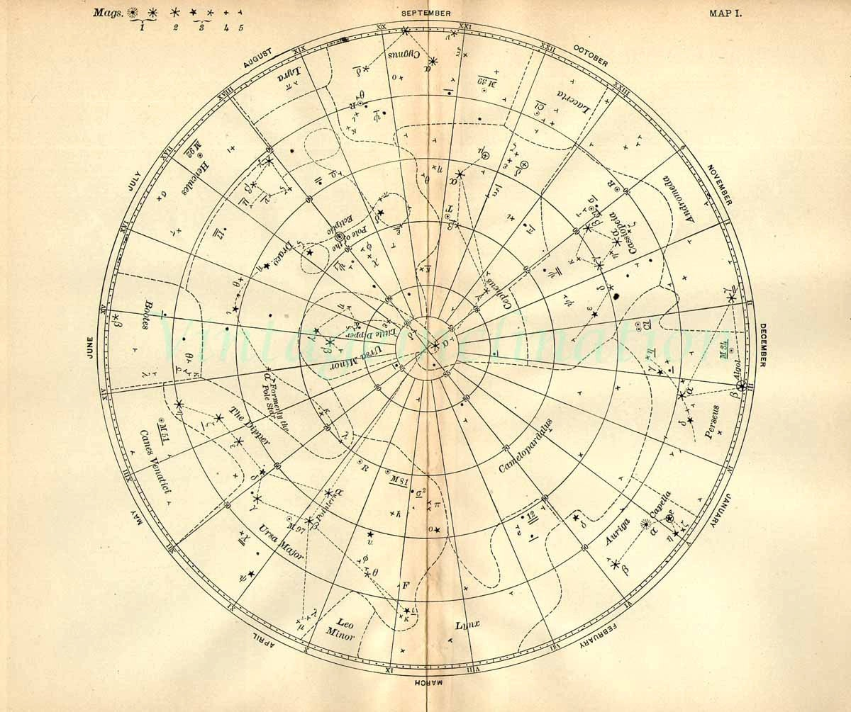 1897 vintage star chart beautiful celestial map