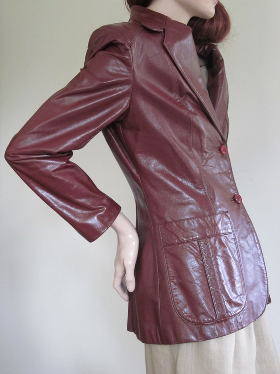 Vintage 1980s Aigner Leather Jacket/ Etienne Aigner/ Maroon/ Burgundy/ Logo/ Leather Blazer/ Back Vent Jacket/ Charlie's Angels/ Horseshoe