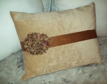 Tan Faux Fur Fabric Pillow