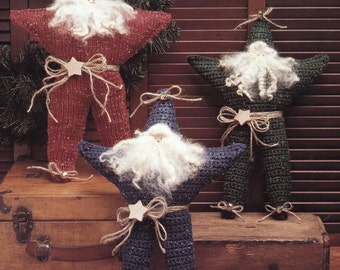 PDF Pattern - Santa Is A Country Star - KNIT and CROCHET Santa Star Patterns - Fun Holiday Decoration or Ornament - Instant Download - Easy