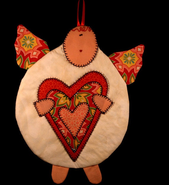 Cupid With Heart Mug Rug with Red Wings