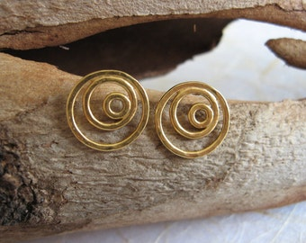 Gold circle stud earrings , gold spiral post earrings , everyday studs , handmade by Adi Yesod