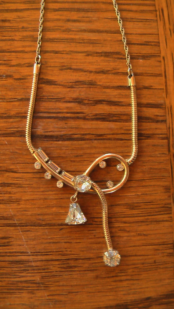 Great Gatsby Necklace BOND BOYD BEAUTIFUL Vintage  22k or 24k Gold Wash Over Sterling Silver Rhinestone Necklace
