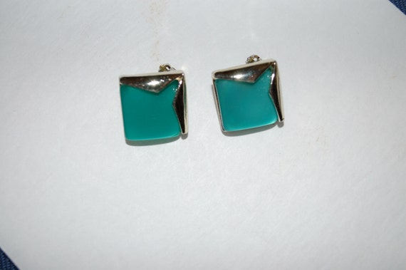 Vintage Green Teal Ocean Aqua Thermoset Lucite clip Earrings