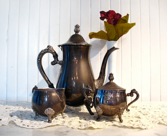 Vintage Teapot, Creamer & Sugar Bowl Leonard Silverplate 3 pc Silver Tea Set