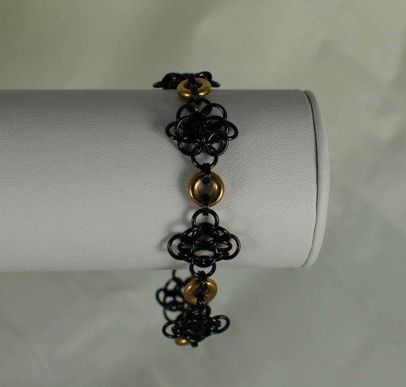 Ebony Rosettes with Gold Accents Bracelet - Ready to Ship