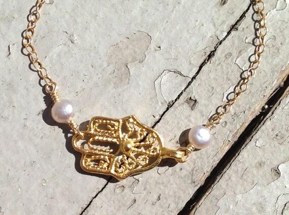 Gold Hamsa - Gold Hand of Fatima Bracelet & Fresh Water Pearls