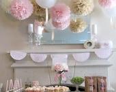 7 Pom Poms - Blushing for You Paper Pom-Poms - Wedding - Birthday - Nursery - Shower