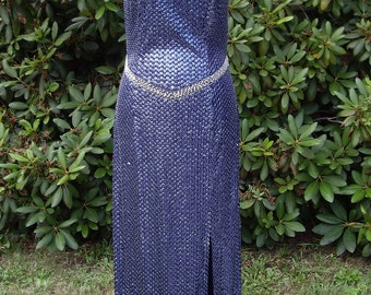 Sexy 80's Blue and Silver Sequined Evening Gown by Niteline