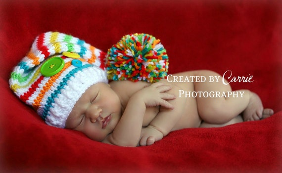 Newborn Crochet Striped Short Tail Elf Stocking Hat - Made to Order