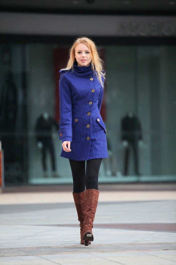 Royal Blue Wool Coat Fitted Military Jacket Coat By