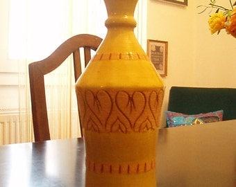 Scheurich Yellow Ceramic  Vase  - Mid Century - Handmade in West Germany