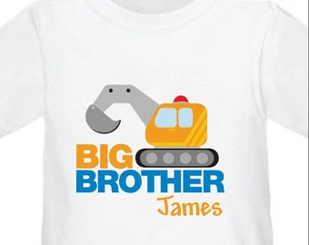 Excavator Big Brother Shirt - Digger Big Brother Shirt , Personalized Sibling Shirt