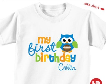 Boy Owl 1st Birthday Shirt or Bodysuit - Personalized First Birthday Shirt with Child's Name & Age