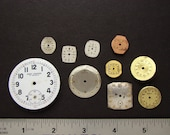 Steampunk Supplies Vintage gold watch movement dials faces silver pocket watch parts lot Jewelry making Craft Supplies Art Scrapbooking 1505