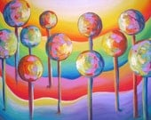 Giclee Print  'Popsicle Trees'  Blue Red Orange Yellow  Pink Purple 18x24 on Stretched canvas Free shipping