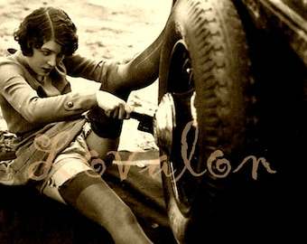 MATURE... Naughty Car Repair... Instant Digital Download... Vintage Nude Photo Image by Lovalon