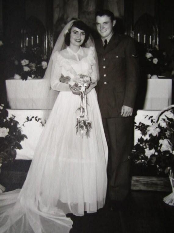 Romantic Wedding Photo... 1940's Vintage Snapshot