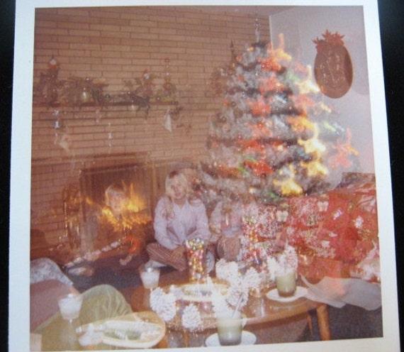 Vintage Photo... 1960's Color Snapshot Photograph... Odd Christmas Double Exposure
