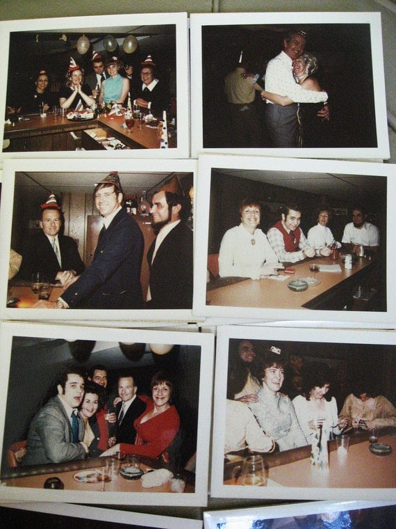 1960's Swinging Office Party... Collection of 15 Vintage Color Polaroid Photos