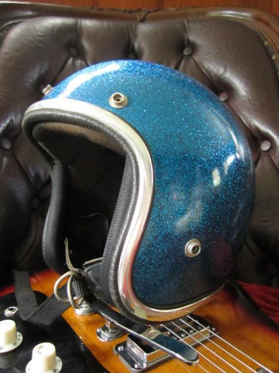 KIDS / ADULT... Blue Sparkle Scooter Helmet... 1960's Super Chic Riding Accessory