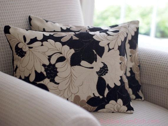 Home Decor Floral Pillow Cover black beige cream 12 x 16 pillow