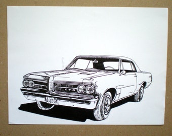 Pontiac GTO 64' / Classic Car / Original Drawing / Vintage Car