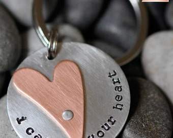 I Carry Your Heart - Hand Stamped Key Chain - ee cummings - Long Distance Love - 7 Year Anniversary Gift - Heart Keychain - Bereavement Gift
