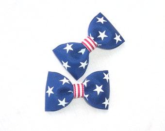 2 red white and blue pigtail hair bow clips--4th of july party favors--bows for baby toddler big girl and moms too